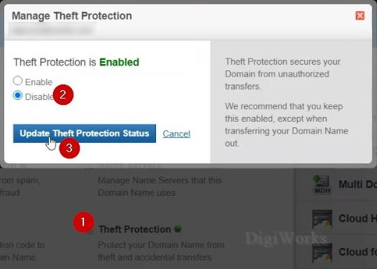 disable theft protection on BigRock dashboard