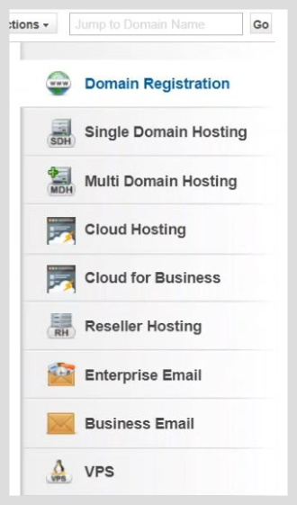 domain registration section on the right side