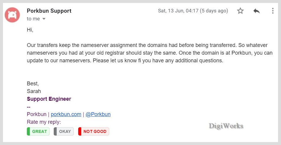 Screenshot of an email from porkbun support, saying they keep the nameserver assignment the domains had before being transferred